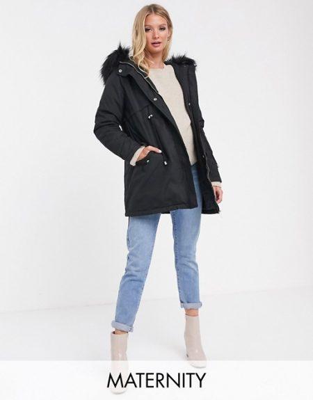 tehotenská bunda na zimu čierna
