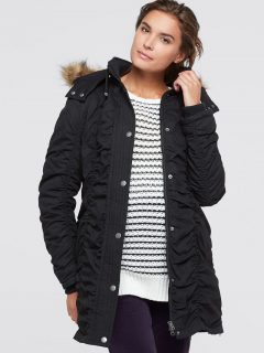 Tehotenská bunda s kapucňou a nastaviteľnou šírkou